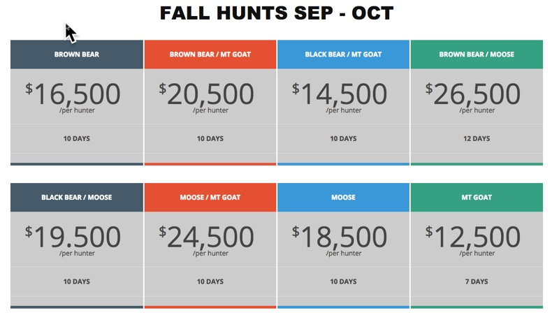 barela fall hunt prices
